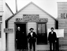 "Oblinger talks of ""jumping"" the claim of a man who had claimed a piece of land but never lived on it. This transfer of claims was common and developed a whole industry spawning land offices like this one in Round Pond, Oklahoma in 1894."