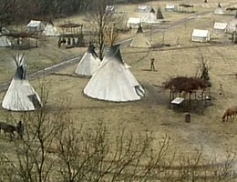 A re-creation of a Ponca village
