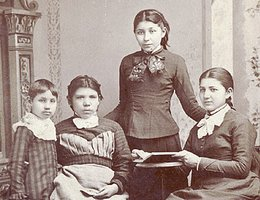 (Left to right) Nettie Fremont (?), Mary Tyndall, Susan La Flesche, & Susan's sister Marguerite, 1880