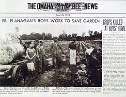 """Fr. Flanagan's Boys Work to Save Garden"" (during the 1930s drought)"