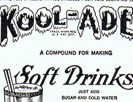 Kool-Ade ad during the Depression in the 1930s; Note the reduced price