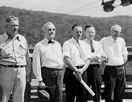 Senator Norris with others at a dam site in 1935