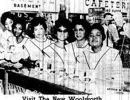"""Omaha Star"" headline for a story about Woolworth's positive outlook on hiring, 1962"