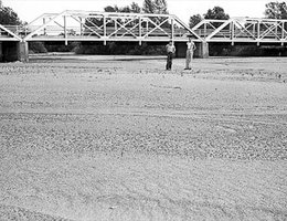 View of the dry bed of the Platte River south of Grand Island under a bridge on Highway 281, July 25, 1936