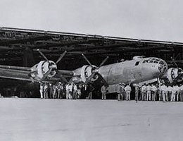 B-29 assembly: crowd around final product leaving the hangar