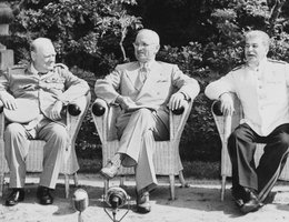While President Truman (middle) was attending the Potsdam Conference on the shape of the post-war world, he learned that the atomic bomb worked. Great Britain's Prime Minister Churchill (left) and the Soviet Union's Premier Stalin (right) were our allies.