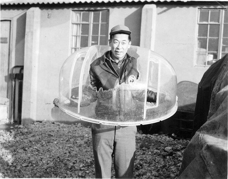 After completing 25 missions, Ben Kuroki volunteered for five more. On his 30th mission over Munster Germany, flack hit his top turret. He lost his oxygen mask and was delirious.