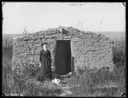 Miss Mary Longfellow holding down a claim west of Broken Bow, Nebraska, circa 1880s