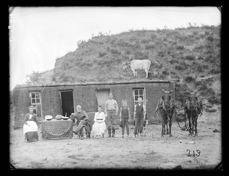 Sylvester Rawding family sod house, north of Sargent, Custer County, Nebraska, 1886